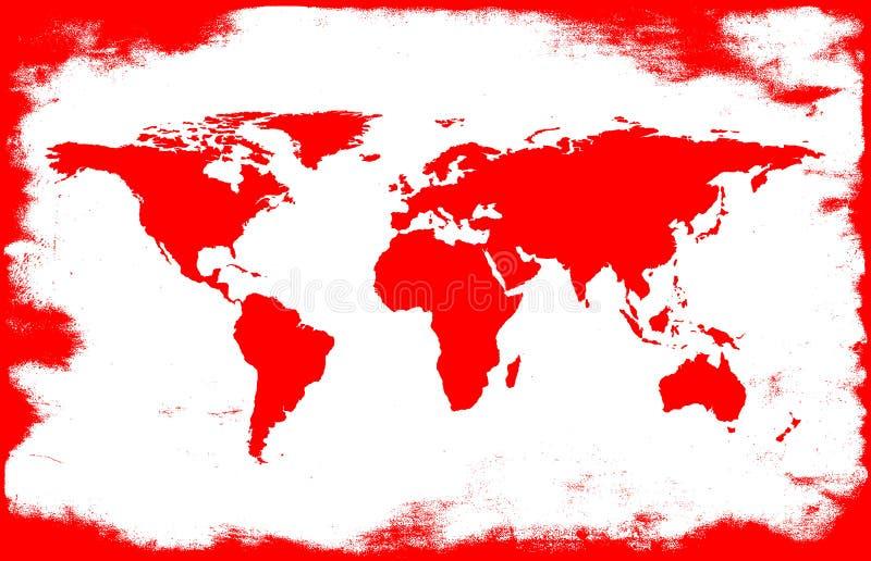 mapa Branco-vermelho ilustração do vetor