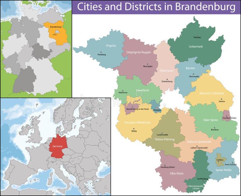 Mapa Brandenburg ilustracja wektor