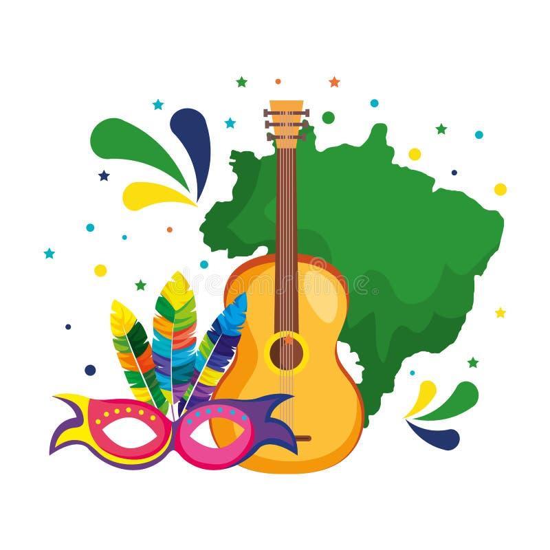 Mapa brasileño con la guitarra y la máscara stock de ilustración