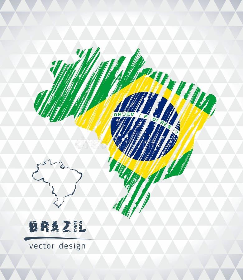 Mapa Brazylia z ręka rysującą nakreślenia pióra mapą inside również zwrócić corel ilustracji wektora royalty ilustracja