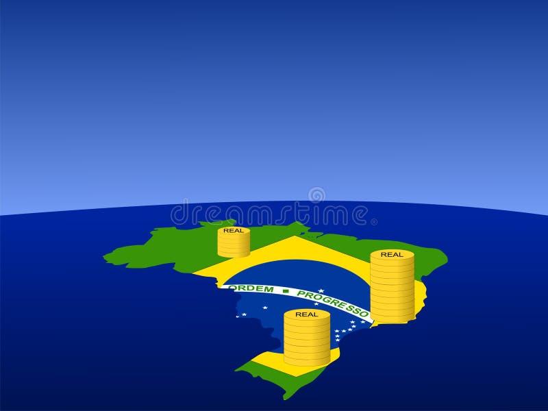 mapa brazylijskiej monety royalty ilustracja