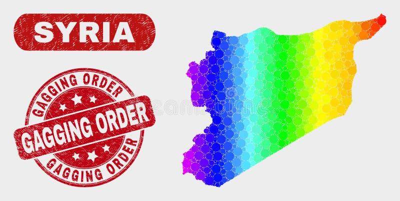 Mapa brilhante de Síria do mosaico e filigrana riscada da ordem de colocação de mordaça ilustração do vetor