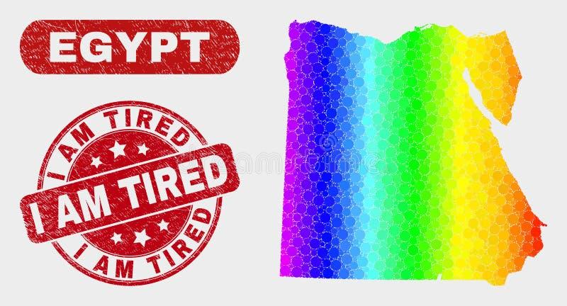 Mapa brillante de Egipto del mosaico y rasguñado soy sello cansado stock de ilustración