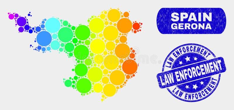 Mapa brillante de la provincia de Gerona del mosaico y filigrana rasguñada de la aplicación de ley ilustración del vector