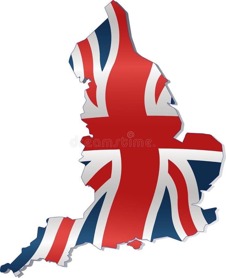 Mapa BRITÂNICO com bandeira britânica ilustração royalty free