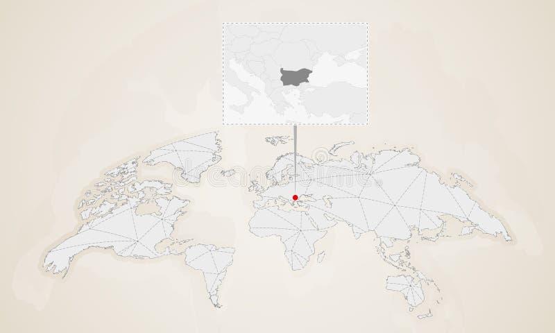Mapa Bułgaria z sąsiednimi krajami przyczepiającymi na światowej mapie royalty ilustracja