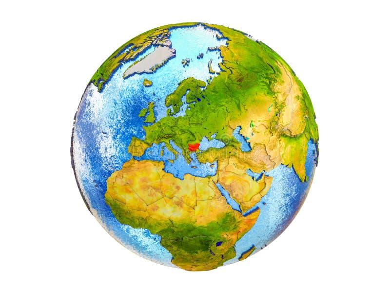 Mapa Bułgaria na 3D ziemi odizolowywającej ilustracja wektor