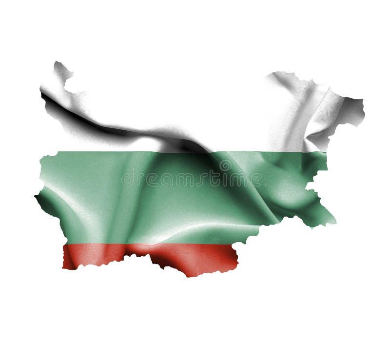 Mapa Bułgaria z falowanie flagą odizolowywającą na bielu ilustracji