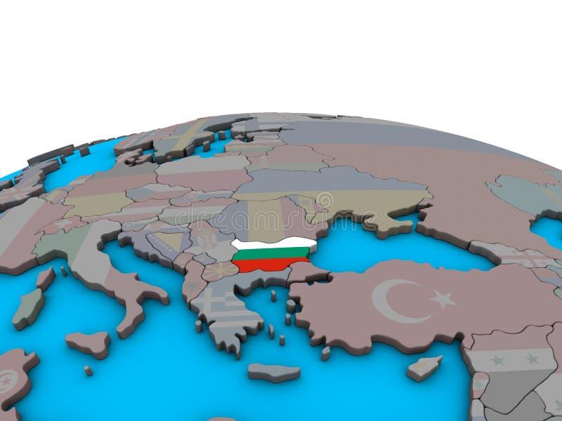 Mapa Bułgaria z flaga na kuli ziemskiej ilustracja wektor