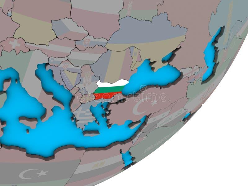 Mapa Bułgaria z flaga na kuli ziemskiej royalty ilustracja