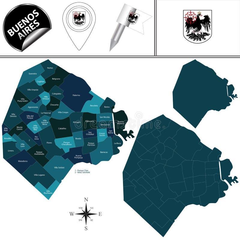 Mapa Buenos Aires miasto z dzielnicami royalty ilustracja
