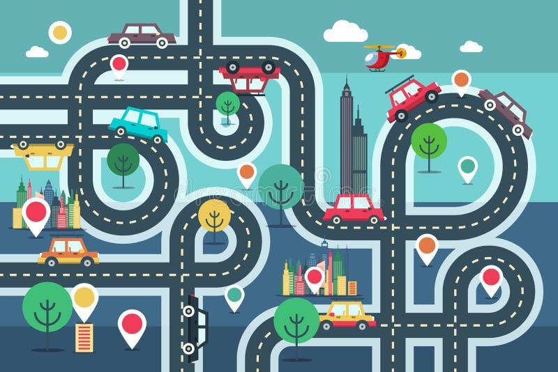 Mapa céntrico de la ciudad con los pernos y los coches en el camino ilustración del vector