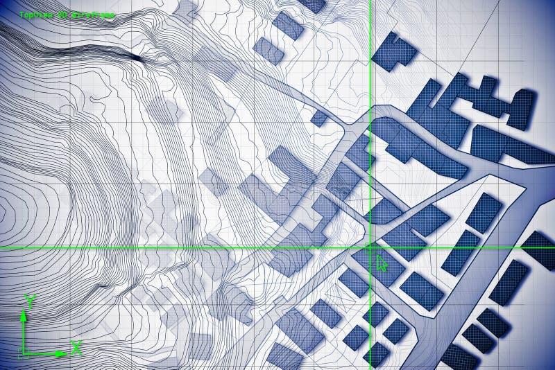 Mapa cadastral imaginário do território com as construções e as estradas tiradas com um software informático dos desenhos assisti foto de stock