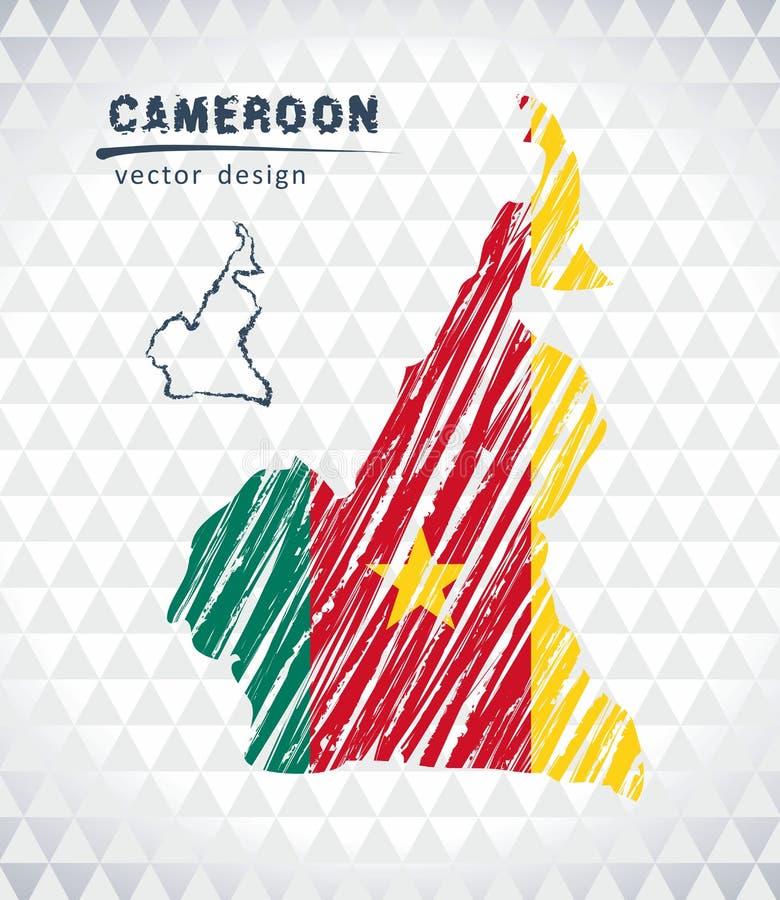 Mapa Cameroon z ręka rysującą nakreślenia pióra mapą inside również zwrócić corel ilustracji wektora ilustracja wektor