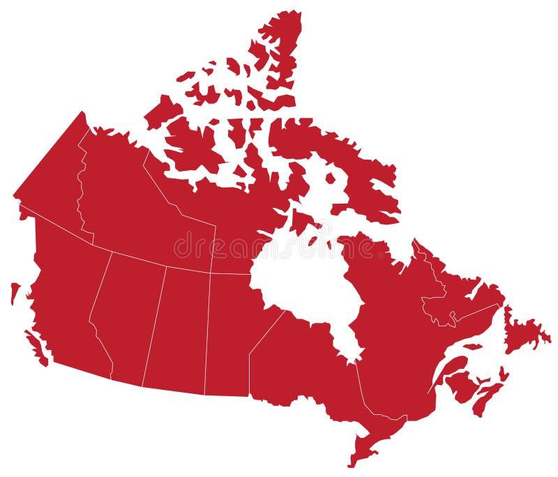 Mapa canadense ilustração do vetor