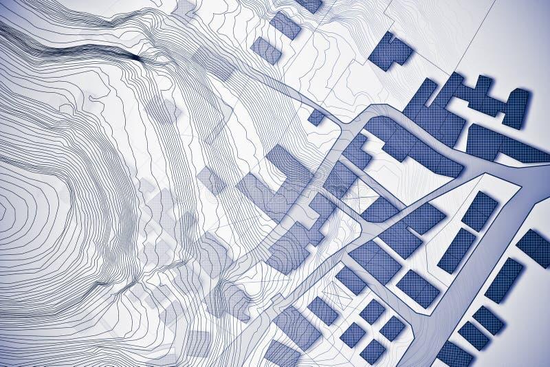 Mapa catastral imaginario del territorio con el mapa de alivio - concepto i ilustración del vector