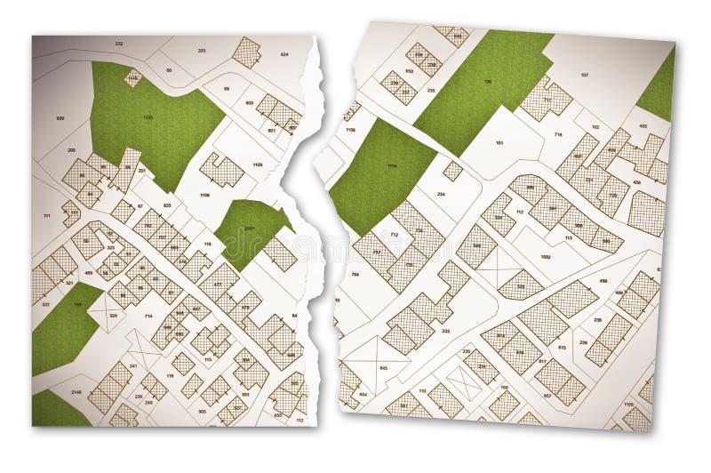 Mapa catastral imaginario del territorio con los edificios, los caminos y l libre illustration