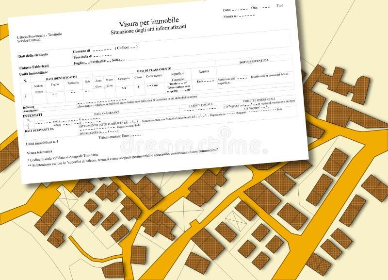 Mapa catastral imaginario del territorio con los edificios y los caminos ilustración del vector