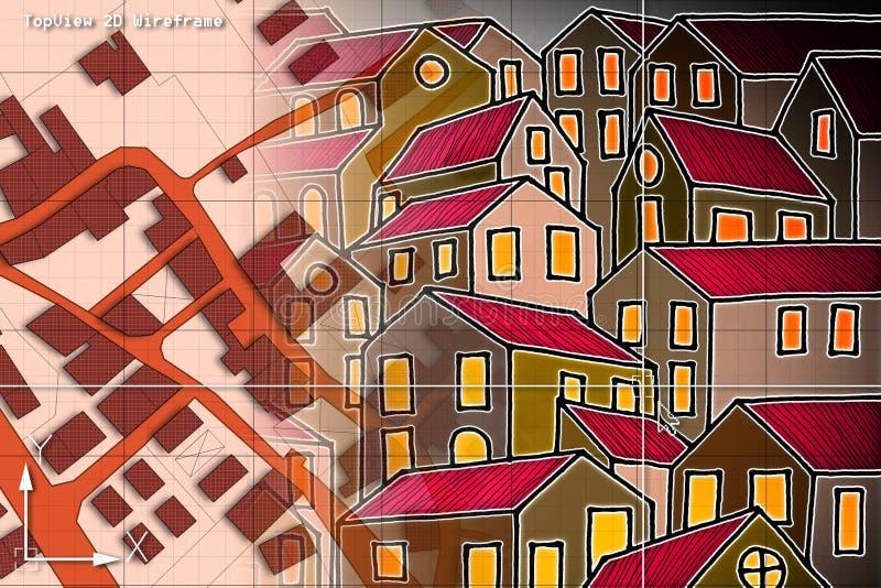 Mapa catastral imaginario del territorio con los edificios y el Dr. de los caminos ilustración del vector