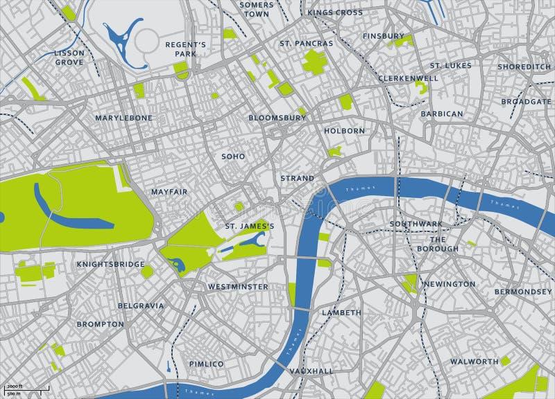 Mapa central do vetor de Londres ilustração do vetor