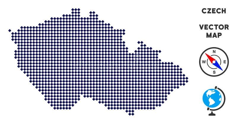 Mapa checo de Pixelated ilustración del vector