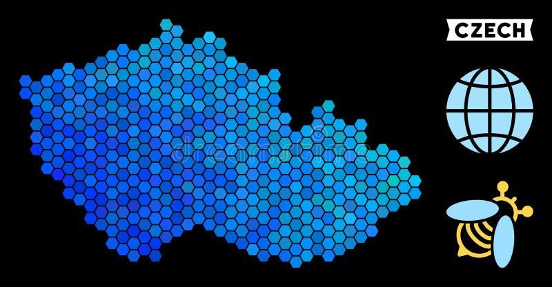 Mapa checo del hexágono azul ilustración del vector