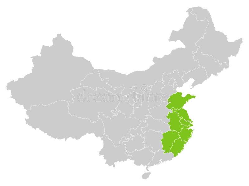 Mapa Chiński region chiny wschodni ilustracji