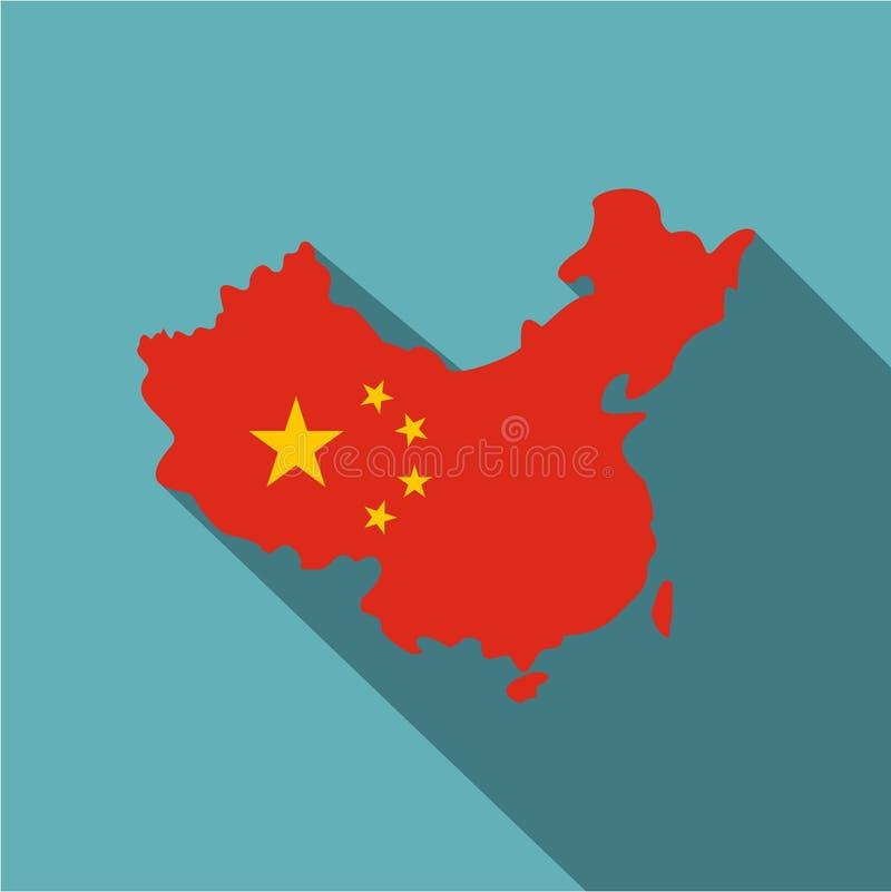 Mapa Chiny w flaga państowowa barwi ikonę ilustracji