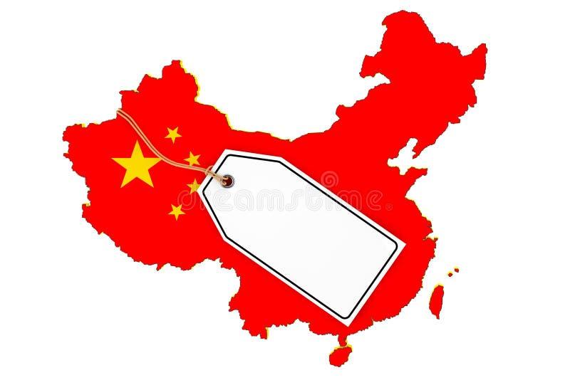 Mapa Chiny z Chorągwianą i Pustą sprzedaży etykietką świadczenia 3 d royalty ilustracja