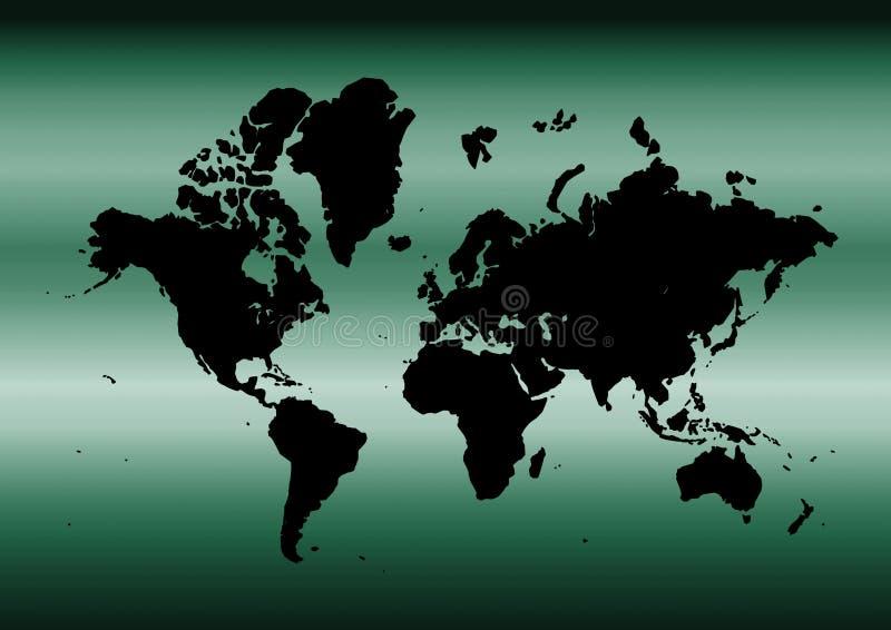 Mapa ciano do mundo ilustração royalty free