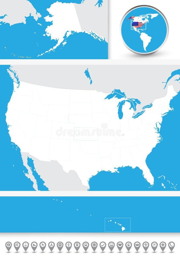Mapa ciego de los E.E.U.U. stock de ilustración