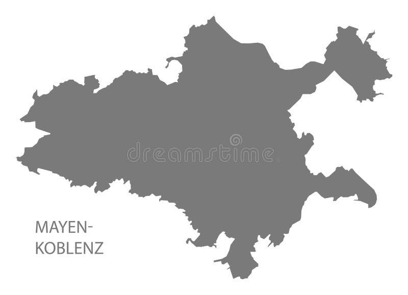 Mapa cinzento do condado de Mayen-Koblenz do Rhineland-palatinado DE ilustração royalty free