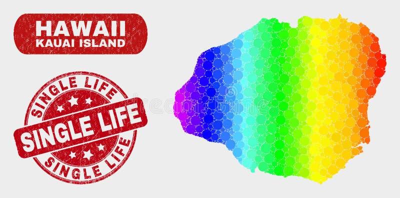 Mapa coloreado de la isla de Kauai del mosaico y apenar el solo sello del sello de la vida libre illustration