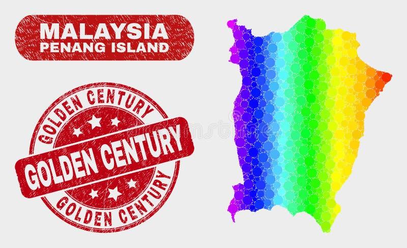 Mapa coloreado de la isla de Penang del mosaico y sello de oro del siglo del Grunge ilustración del vector