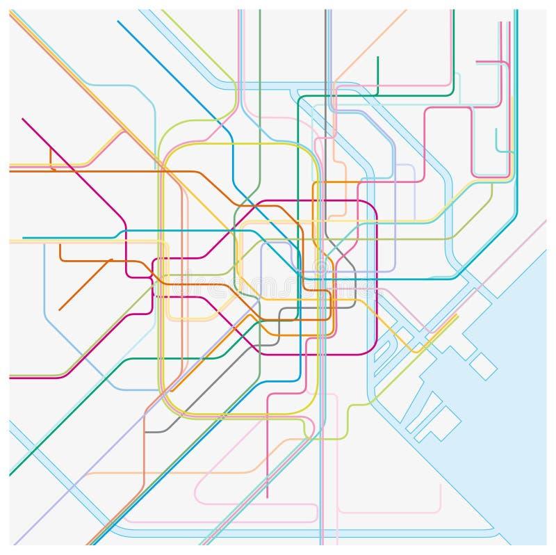 Mapa coloreado del vector del metro del tokio capital japonés stock de ilustración