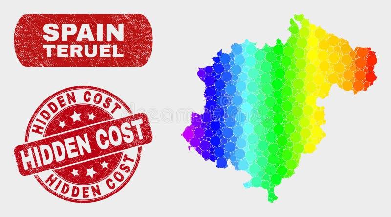 Mapa colorido da província de Teruel do mosaico e selo custado escondido riscado do selo ilustração stock