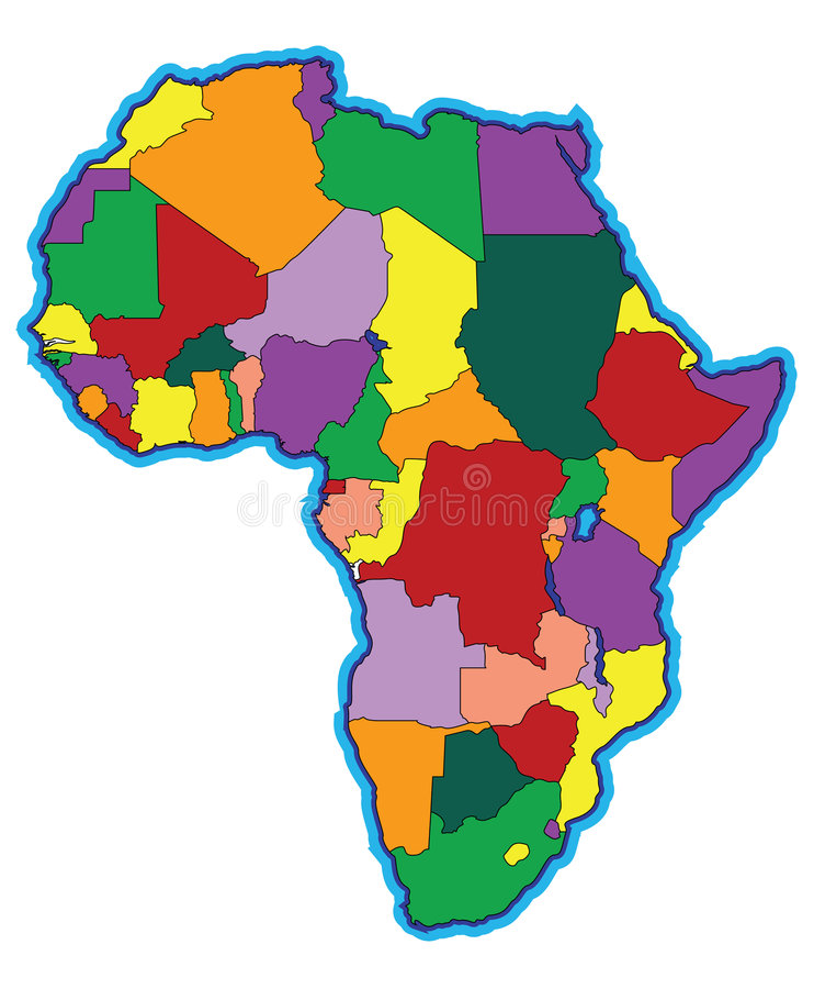 Mapa colorido de África ilustração stock