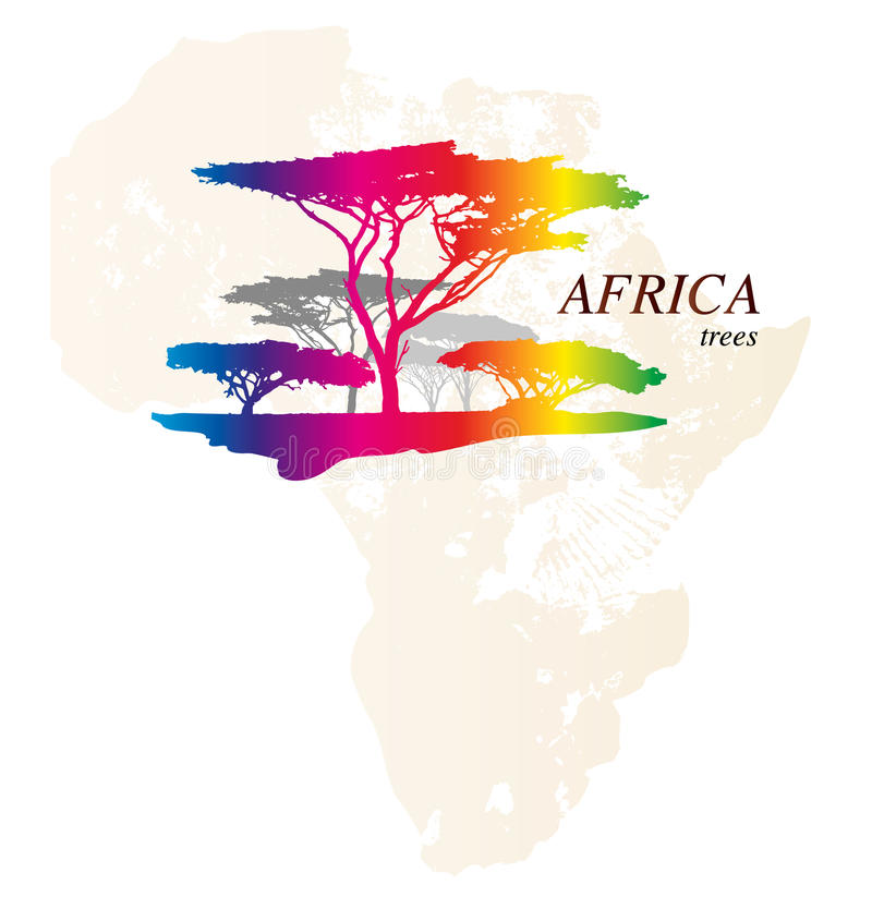 Mapa colorido de ÁFRICA stock de ilustración