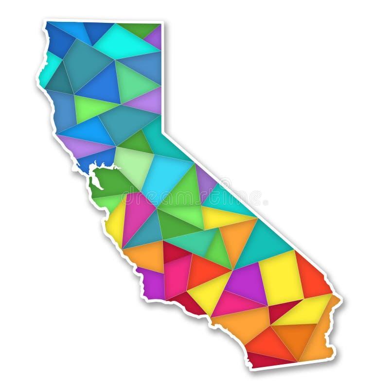Mapa colorido de Califórnia ilustração royalty free