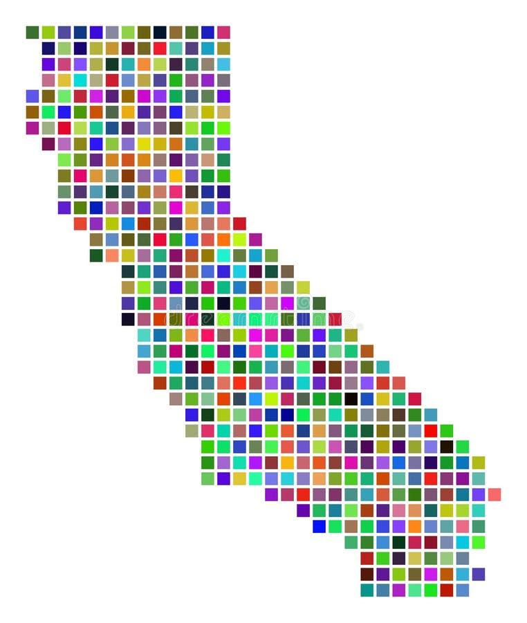 Mapa colorido de Califórnia do ponto ilustração do vetor