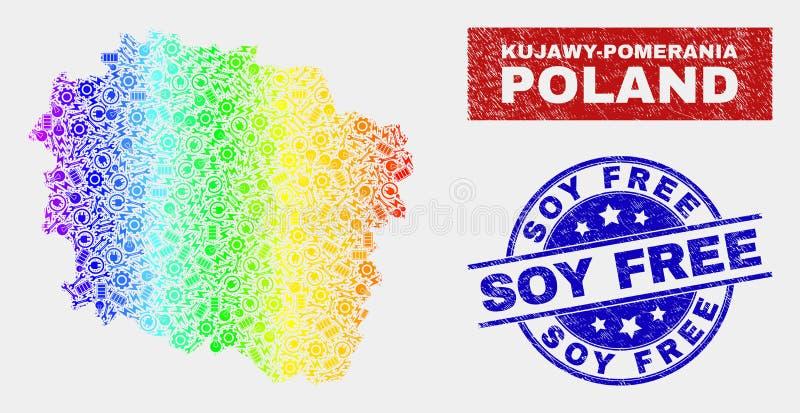 Mapa colorido de la provincia de Kujawy-Pomerania del servicio y filigranas libres de la soja del Grunge ilustración del vector