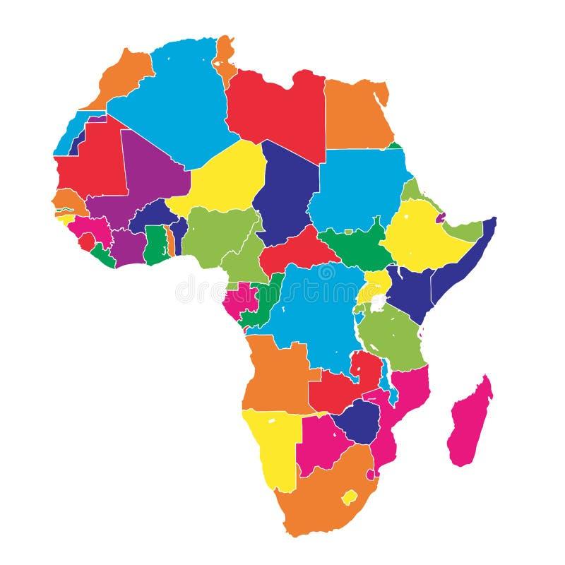 Mapa colorido del vector de África stock de ilustración