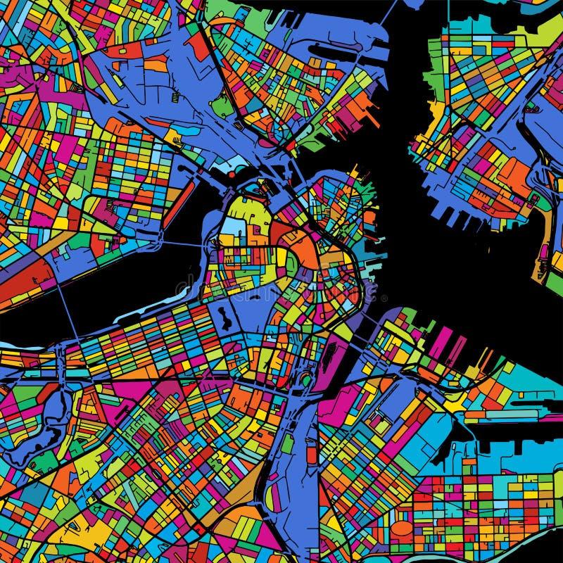 Mapa colorido del vector de Boston en negro stock de ilustración