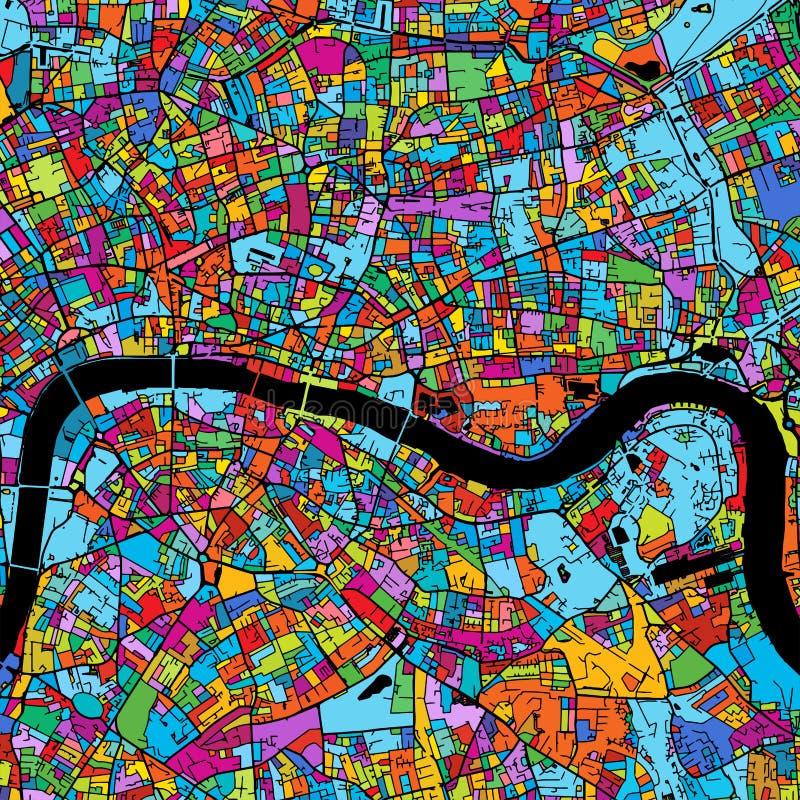 Mapa colorido del vector de Londres en negro stock de ilustración