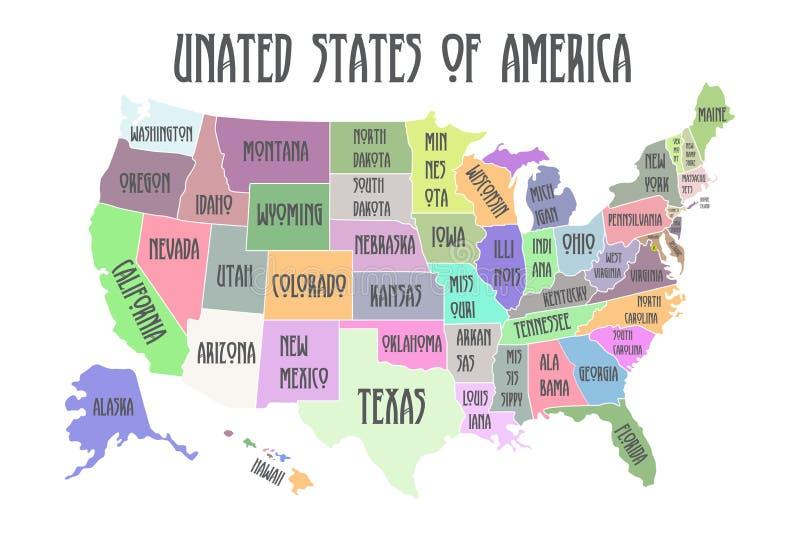 Mapa colorido do cartaz do Estados Unidos da América com nomes do estado ilustração do vetor