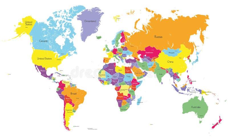 Mapa colorido do mundo do vetor imagem de stock