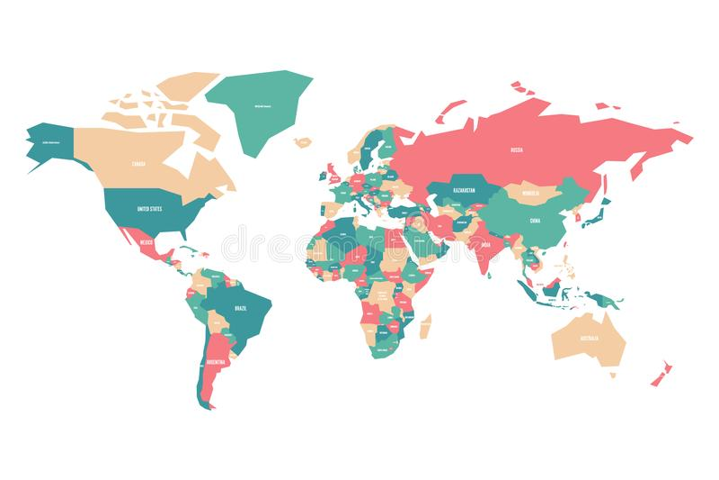 Mapa colorido do mundo Mapa simplificado do vetor com etiquetas do nome de país ilustração royalty free
