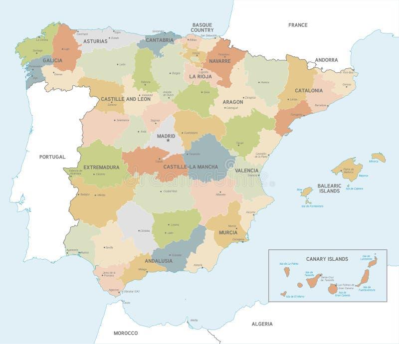 Mapa colorido do vetor da Espanha ilustração do vetor