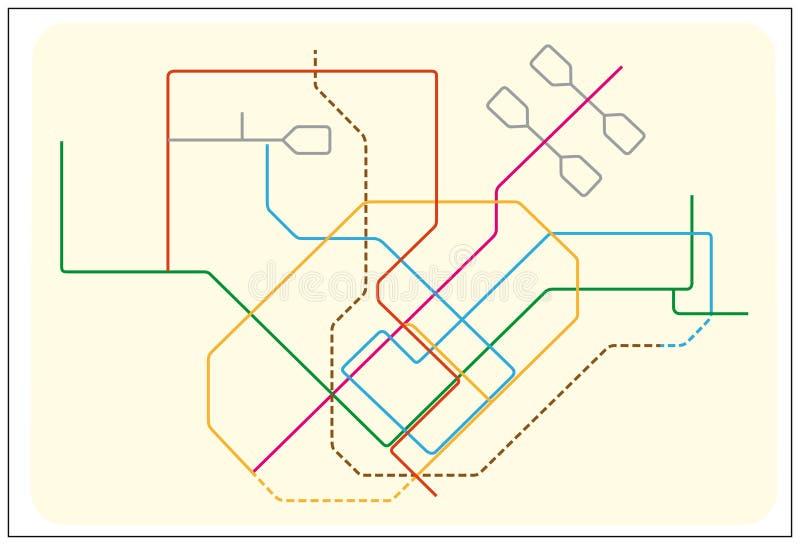 Mapa colorido do vetor do metro de Singapura, Ásia ilustração stock