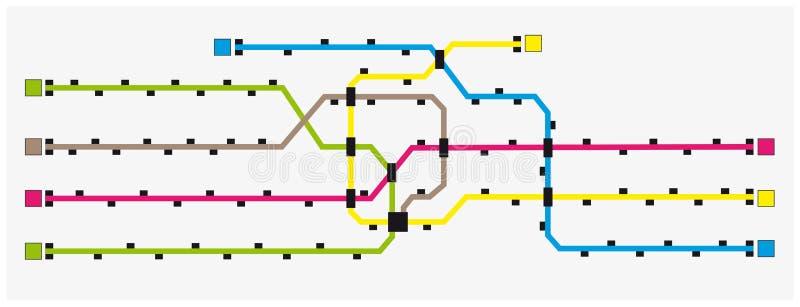 Mapa colorido imaginário do metro com estações ilustração royalty free